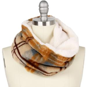 Holiday Gift Ideas 9504 Plaid Taupe Faux Fur Cowl Neck Scarf - One Size Fits All