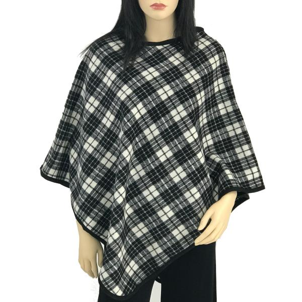 Banded Wool Feel Ponchos PJC PJC11 Plaid Black-White -