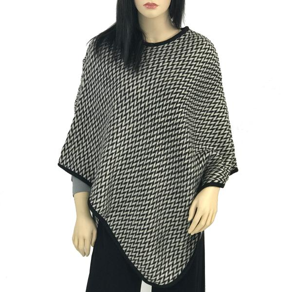 Banded Wool Feel Ponchos PJC PJC14 Chevron Black-Grey -
