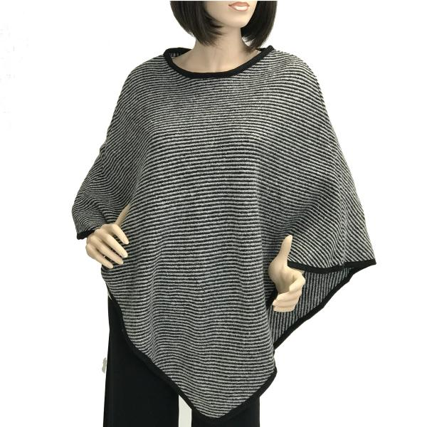 Banded Wool Feel Ponchos PJC PJC20 Stripes Black-Grey -