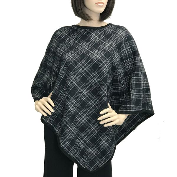 Banded Wool Feel Ponchos PJC PJC21 Plaid Navy-Grey -
