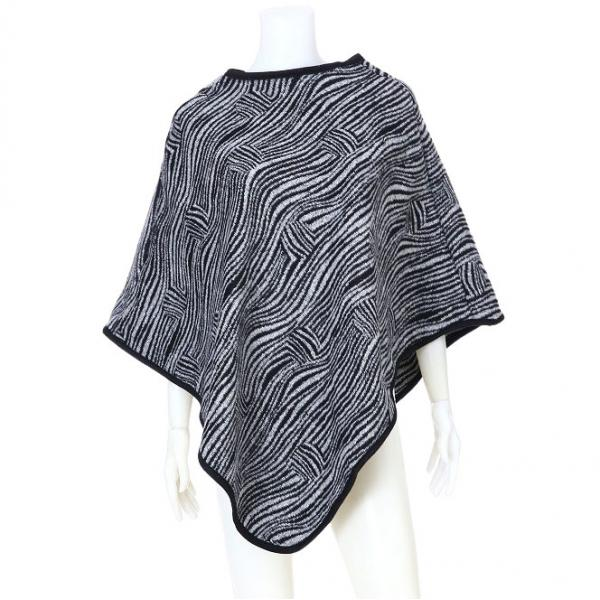 Banded Wool Feel Ponchos PJC PJC22 GREY -