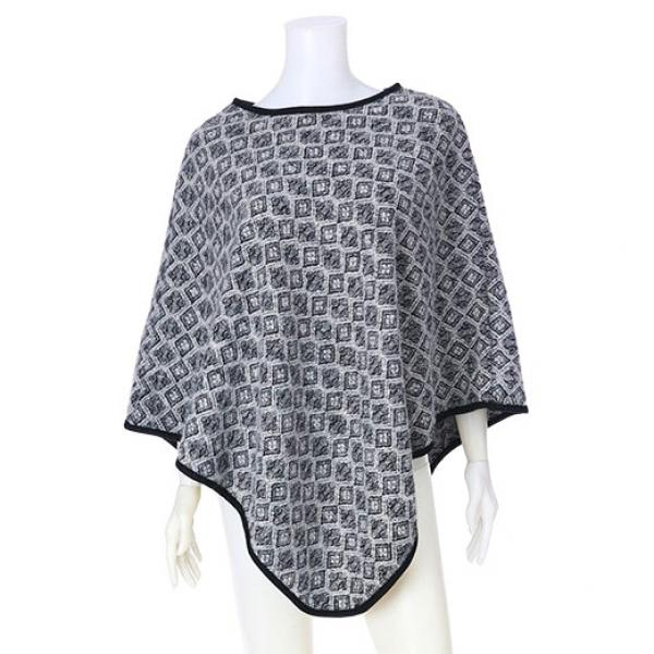 Banded Wool Feel Ponchos PJC PJC19 GREY -