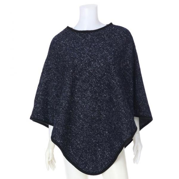 Banded Wool Feel Ponchos PJC PJC23  NAVY/BLACK -
