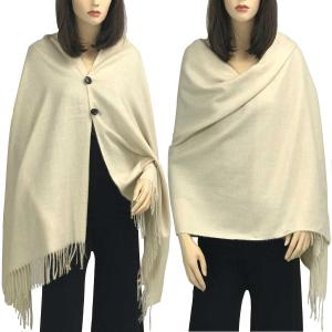 Brushed Cashmere Feel Shawls with Buttons BCFB Beige -