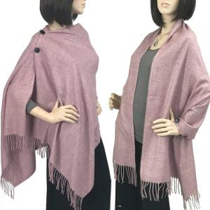 Brushed Cashmere Feel Shawls with Buttons BCFB Dusty Pink -