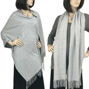 Brushed Cashmere Feel Shawls with Buttons BCFB Light Grey -