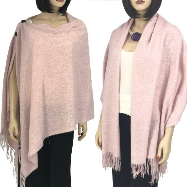 Brushed Cashmere Feel Shawls with Buttons BCFB Pink -
