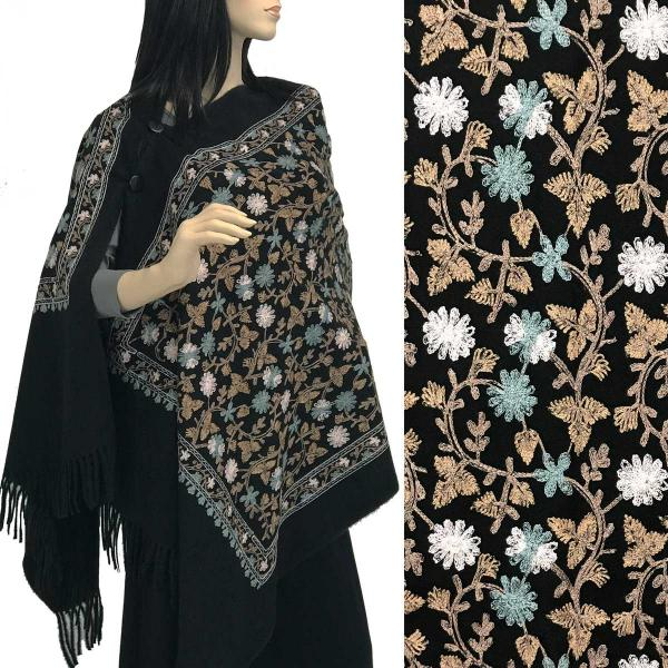 Embroidered Cashmere Feel Shawls w/Buttons (BCFEB) BLACK FLORAL Embroidered Cashmere Feel Shawl w/Wooden Buttons (BCFEB) -