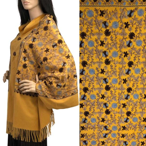Embroidered Cashmere Feel Shawls w/Buttons (BCFEB) GOLD FLORAL Embroidered Cashmere Feel Shawl w/Wooden Buttons (BCFEB) -
