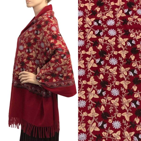 Embroidered Cashmere Feel Shawls w/Buttons (BCFEB) BURGUNDY FLORAL Embroidered Cashmere Feel Shawl w/Wooden Buttons (BCFEB) -