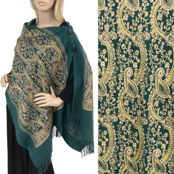 Embroidered Cashmere Feel Shawls w/Buttons (BCFEB) DARK GREEN PAISLEY Embroidered Cashmere Feel Shawl w/Wooden Buttons (BCFEB) -