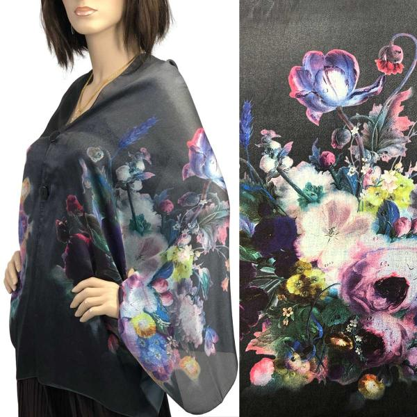 wholesale Charmeuse Art Design Shawls with Buttons #11 Satin Charmeuse Shawl with Black Wooden Buttons -