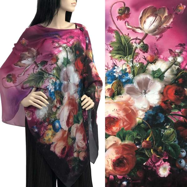 wholesale Charmeuse Art Design Shawls with Buttons #14 Satin Charmeuse Shawl with Black Wooden Buttons -