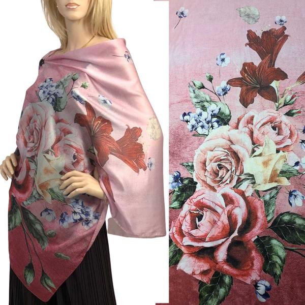 wholesale Charmeuse Art Design Shawls with Buttons #15 Satin Charmeuse Shawl with Black Wooden Buttons -