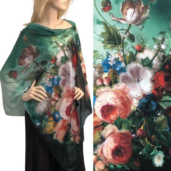 wholesale Charmeuse Art Design Shawls with Buttons #13 Satin Charmeuse Shawl with Black Wooden Buttons -