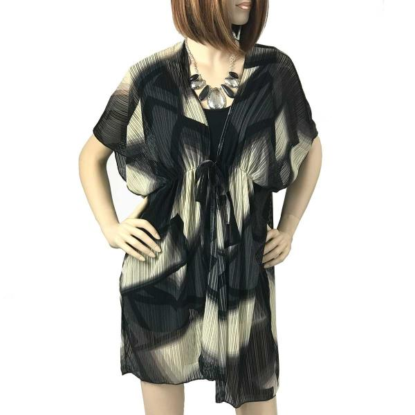 Kimono - Multi Texture Mesh w/ Belt 1314 & 1315 Abstract 1314 Black-Ivory -