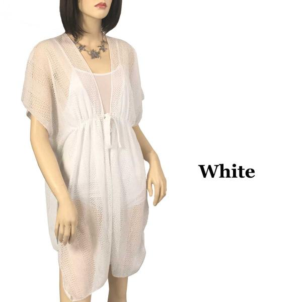 Kimono Style Cover-up - Crochet with Tie 1316 White  -