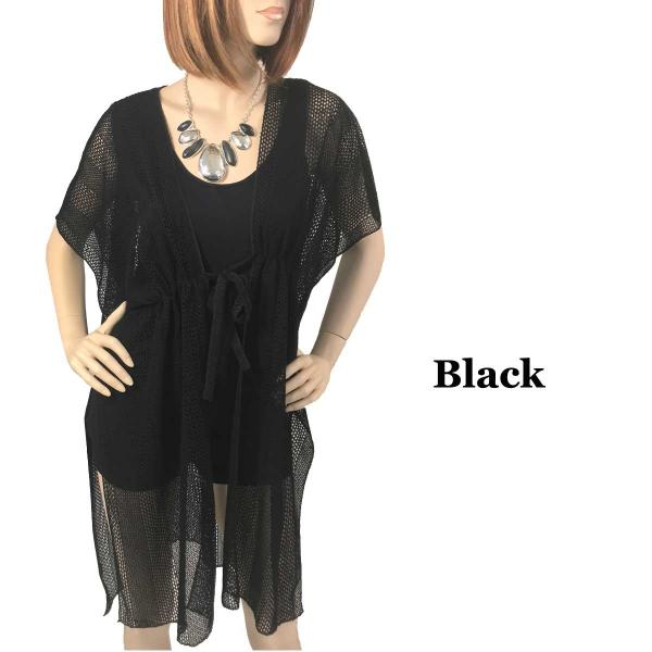 Kimono Style Cover-up - Crochet with Tie 1316 Black -