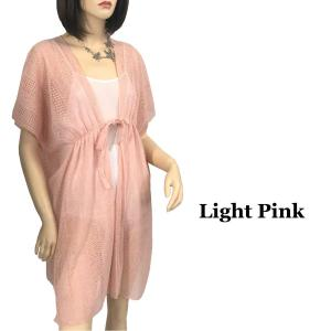 Kimono Style Cover-up - Crochet with Tie 1316 Light Pink -
