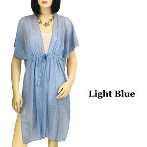 Kimono Style Cover-up - Crochet with Tie 1316 Light Blue -