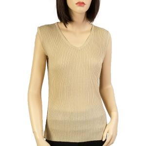 Wholesale  Beige Ribbed Sweater Knit Sleeveless Top -