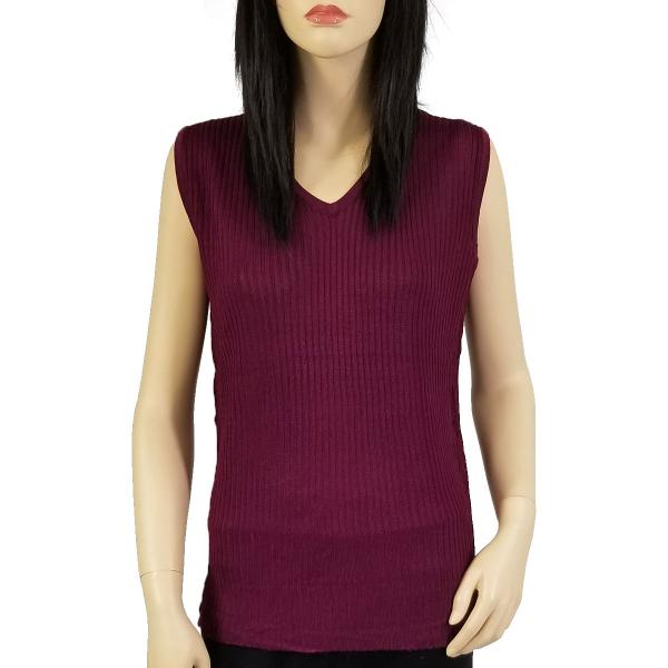 Wholesale Ribbed Sweater Knit Sleeveless Top Burgundy -
