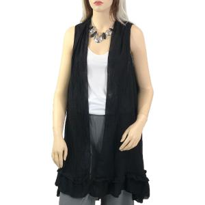 wholesale Vests - Summer Weight w/ Ruffled Bottom 1350 Black -