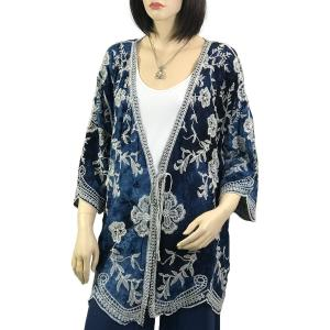 Metallic Print Shawls with Buttons Blue Kimono - Embroidered Floral 1611(MB) -