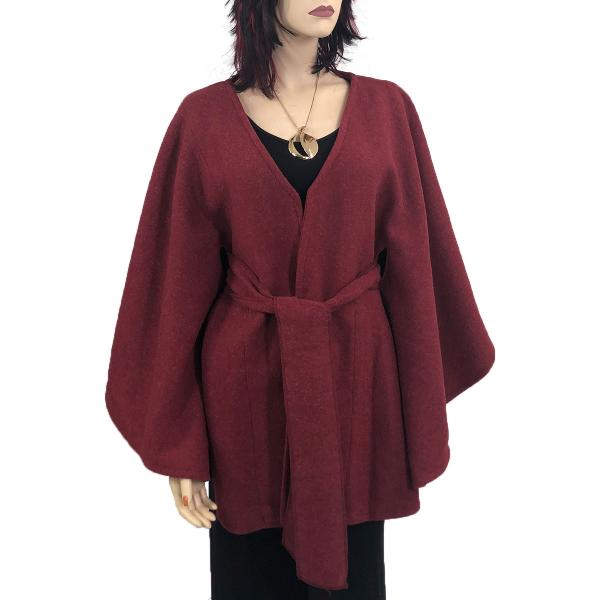 wholesale Capes - Luxury Wool Feel / Belted LC15 Burgundy -