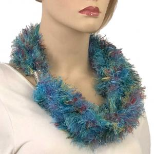 Magnetic Clasp Scarves (Eyelash Yarn) #07 Fiesta Turquoise -