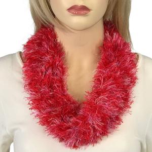 Magnetic Clasp Scarves (Eyelash Yarn) #17 Multi Red-Lavender -