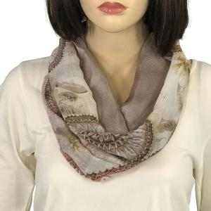 Magnetic Scarves by Caterina #07 Decorative Round Print 9005 Taupe - Tan -