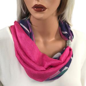 Magnetic Scarves by Caterina #12 Multi Abstract Magnetic Clasp Scarf - Fuchsia  -