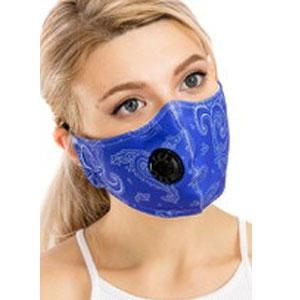 Protective Masks with Respirator + Filter C09 C10 Paisley Blue 303 (100% Cotton) w/Two Filters -