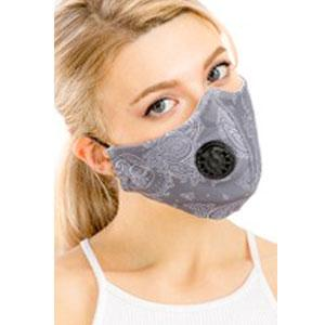 wholesale Protective Masks with Respirator + Filter C09 C10 Paisley Grey 303 (100% Cotton) w/Two Filters -