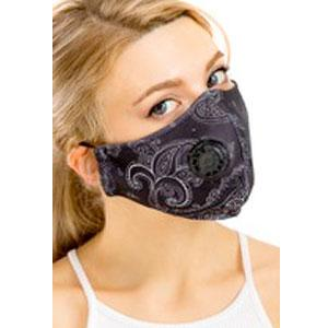 Protective Masks with Respirator + Filter C09 C10 Paisley Black 303 (100% Cotton) w/Two Filters -