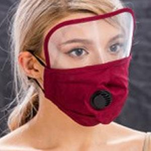 Protective Masks with Respirator + Filter C09 C10 Mask with Eye Protection, Valve and Filter Pocket (Burgundy) -