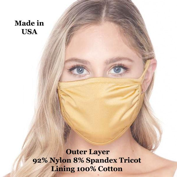 Protective Masks Multi Layer by Lola  Tricot Gold (Made in USA) -