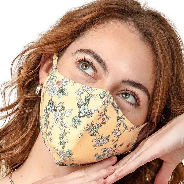 Protective Masks Multi Layer by Lola  TS08 Mustard/Teal Flower  - Masks Multi Layer by Lola  -