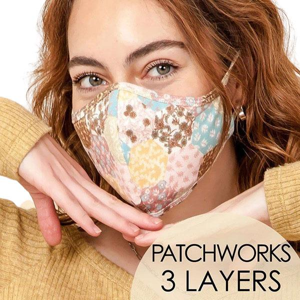 Protective Masks Multi Layer by Lola  TS14 Patchwork Design Mask (Three Layer) - Masks Multi Layer by Lola  -