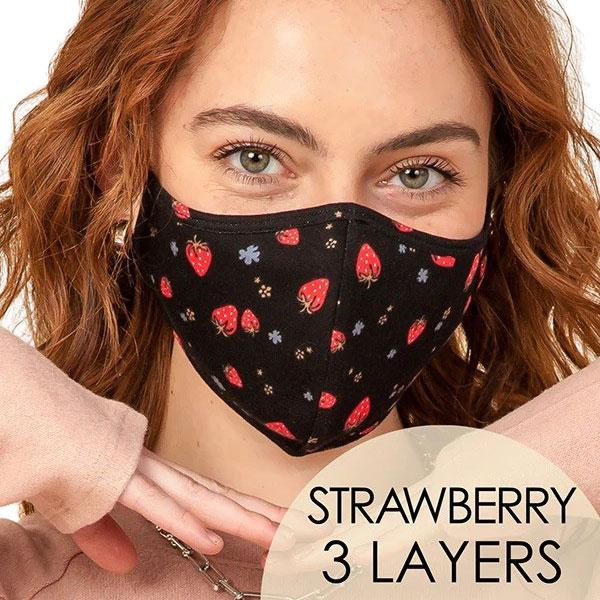 Protective Masks Multi Layer by Lola  TS10 Strawberries Mask (Three Layer)MB - Masks Multi Layer by Lola  -