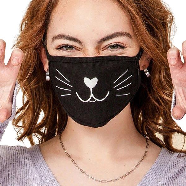 Protective Masks Multi Layer by Lola  GP02 Cat Face (95% Cotton 5% Spandex) 2 Layer - Masks Multi Layer by Lola  -