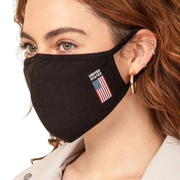 Protective Masks Multi Layer by Lola  HN02 Black w/ United States Flag (90% Cotton 10% Polyester) - Masks Multi Layer by Lola  -