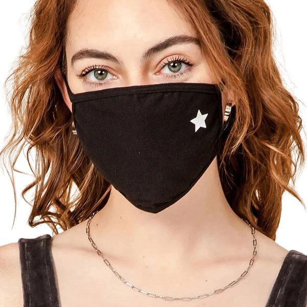 Protective Masks Multi Layer by Lola  GP02 Black with One White Star (95% Cotton 5% Spandex) - Masks Multi Layer by Lola  -