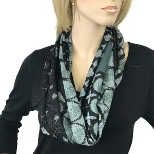 Magnetic Clasp Scarves (Gypsy Prints) #01 Flower Border Black -