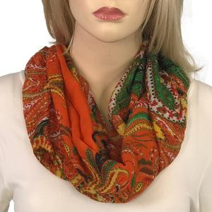 Magnetic Clasp Scarves (Gypsy Prints) #07 Large Paisley Orange -