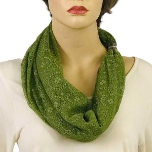 Magnetic Clasp Scarves (Cotton with Lace) #01 Avocado -