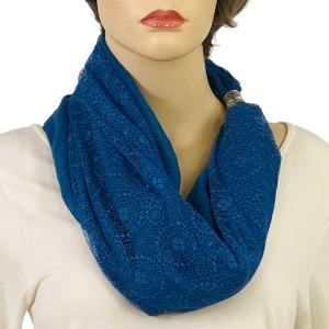 Magnetic Clasp Scarves (Cotton with Lace) #03 Denim -