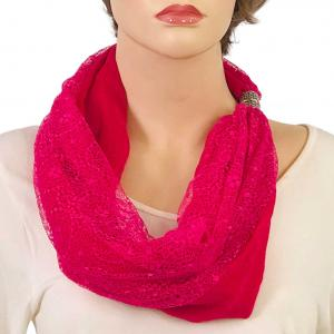 wholesale Magnetic Clasp Scarves (Cotton with Lace) #04 Fuchsia -